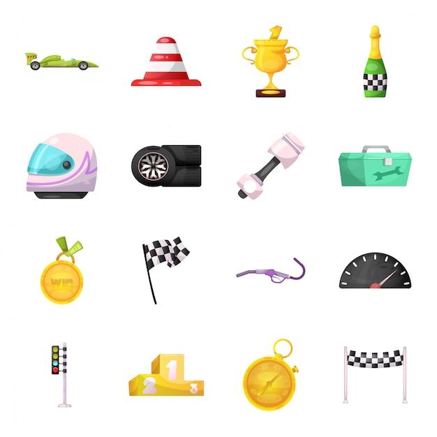 Carro de corrida dos desenhos animados conjunto de ícones Vetor Premium