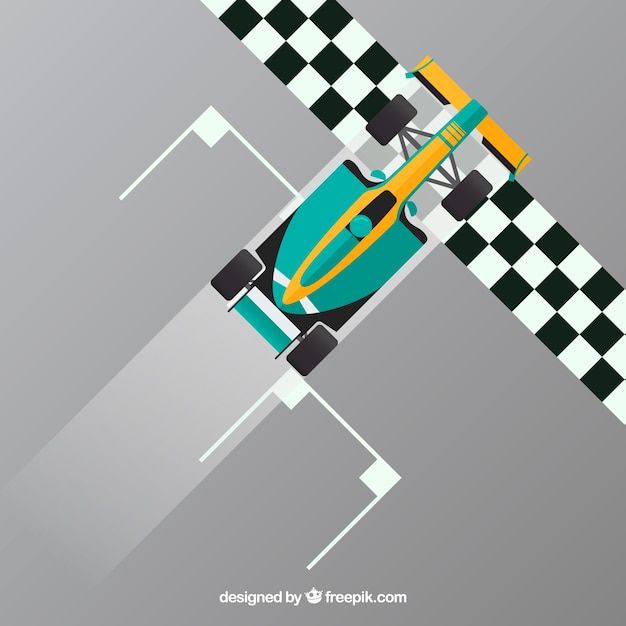 Carro de corrida verde f1 cruza a linha de chegada Vetor grátis