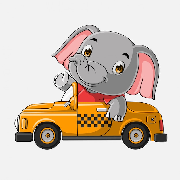 Carro de elefante bonito mão desenhada Vetor Premium