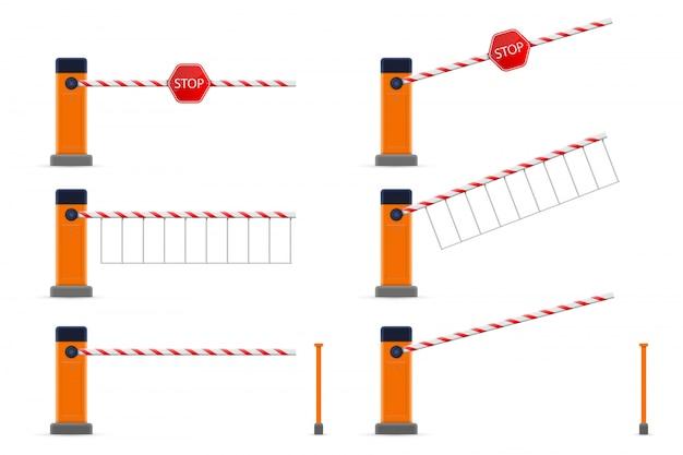 Carro de estacionamento com portão de barreira aberto e fechado Vetor Premium