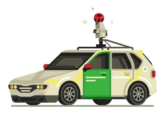Carro de exibição de rua do google Vetor Premium