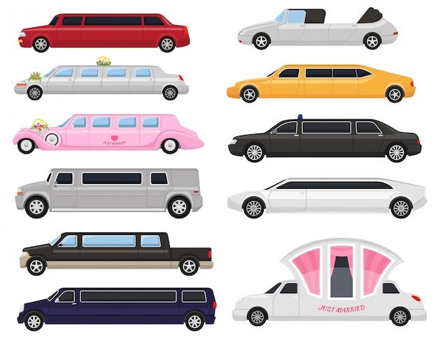 Carro de luxo limusine limusine e retrô auto transporte e veículo automóvel ilustração conjunto de transporte citycar automotivo isolado na ilustração de fundo branco Vetor Premium