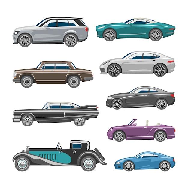 Carro de luxo retrô auto transporte e veículo automóvel ilustração conjunto de indústria automotiva isolado citycar na ilustração de fundo branco Vetor Premium