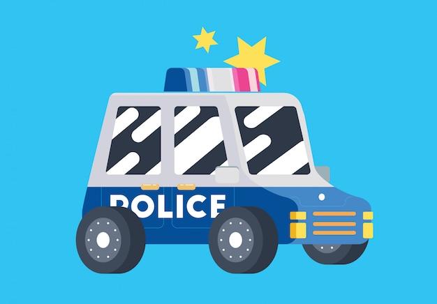 Carro de polícia de polícia plana bonito Vetor Premium