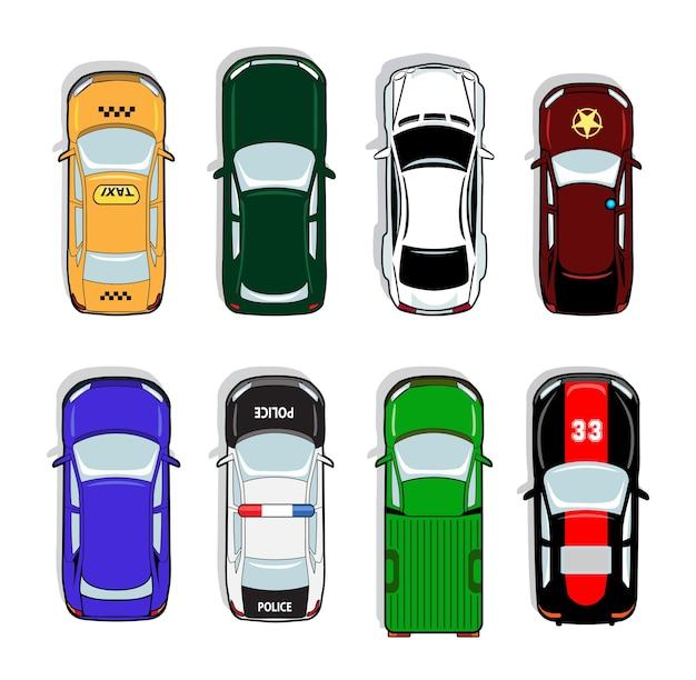 Carro de polícia e táxi, carro esporte e sedan. sinal de transporte, automóvel, direção e símbolo Vetor grátis