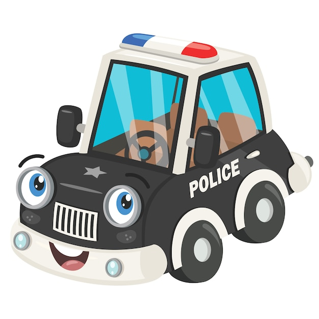 Carro De Policia Engracado Dos Desenhos Animados Posando Vetor