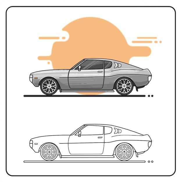 Carro de prata 70s editable fácil Vetor Premium