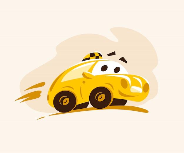 Carro de táxi andando pela cidade. ilustração do estilo dos desenhos animados. personagem engraçada. logotipo do serviço de táxi. bom para publicidade, cartão de visita, cartaz, cartaz. Vetor Premium