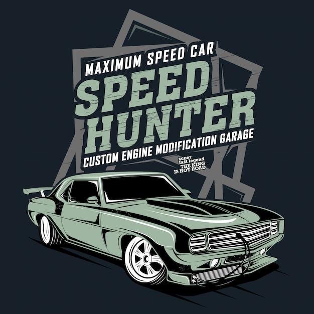 Carro de velocidade máxima, modificação de motor personalizada, ilustração de um carro de corrida clássico Vetor Premium