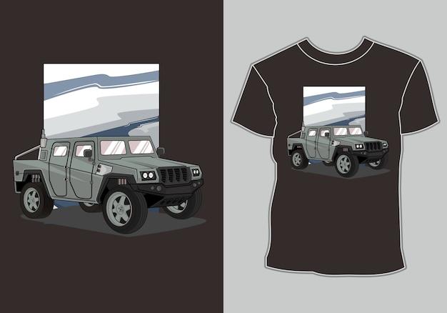 Carro do exército camiseta Vetor Premium