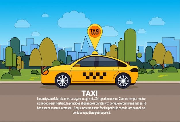 Carro do táxi com sinal do lugar dos gps no conceito em linha do serviço do táxi da rota da ordem Vetor Premium