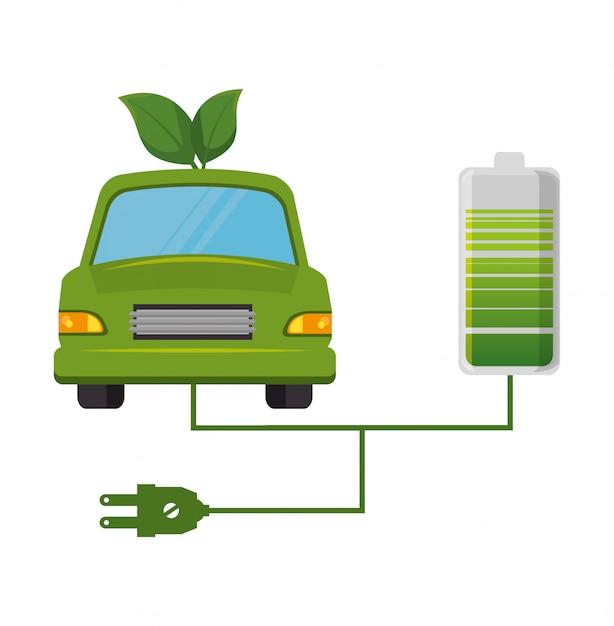 Carro ecológico folhas design isolado em estilo simples Vetor grátis