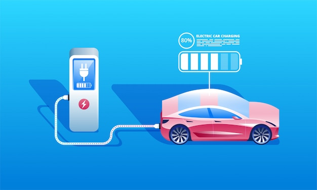 Carro elétrico, carregando, em, a, carregador, estação Vetor Premium