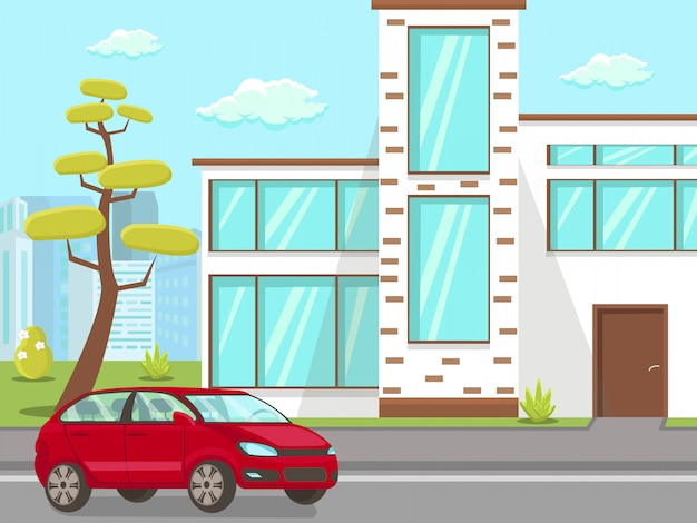 Carro, em, casa, jarda frente, apartamento, ilustração Vetor Premium
