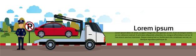 Carro, em, reboque, zona, de, estacionamento veículo, evacuação, vista, bandeira horizontal Vetor Premium