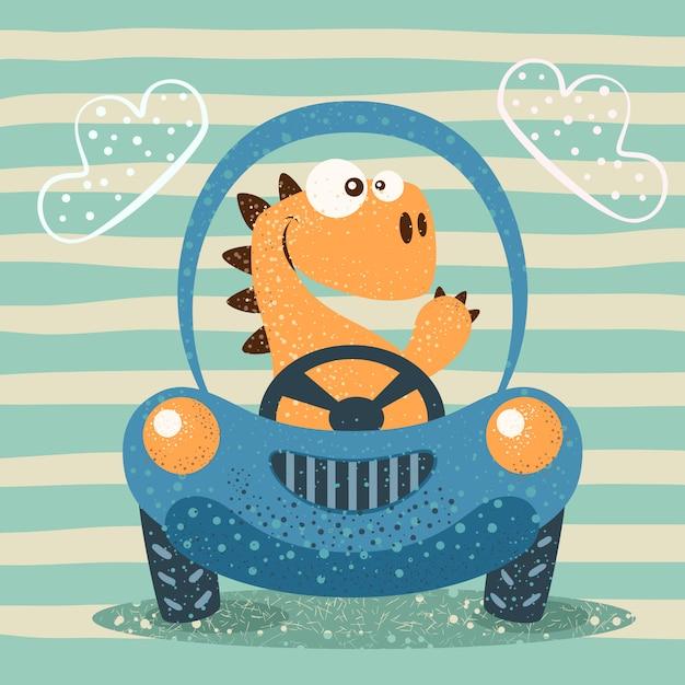Carro engraçado da movimentação bonito de dino. Vetor Premium