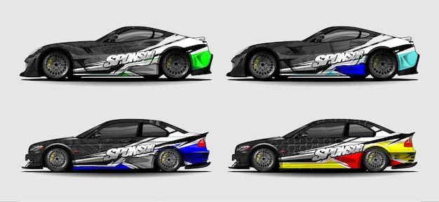 Carro envoltório decalque projeto vector. design de fundo gráfico abstrato para veículo, carro de corrida, rally, pintura, carro esporte Vetor Premium