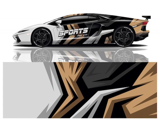 Carro esporte decalque envoltório projeto vector Vetor Premium