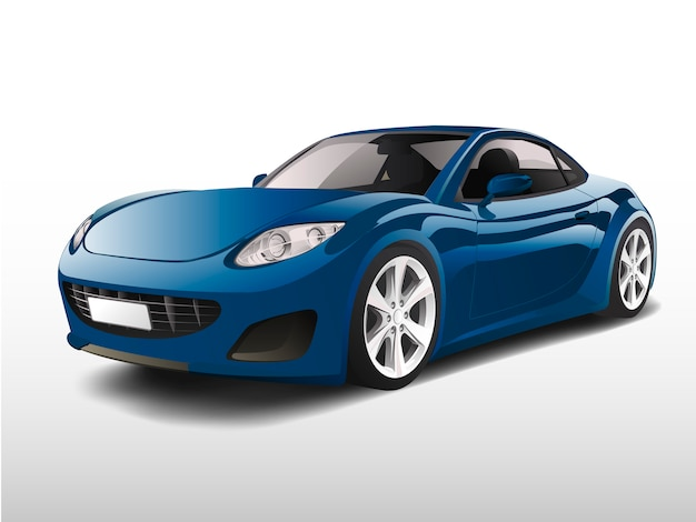 Carro esportivo azul isolado no branco vector Vetor grátis
