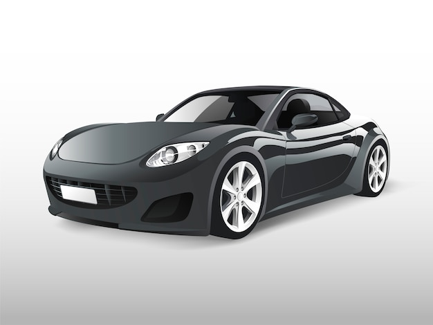 Carro esportivo cinza isolado no branco vector Vetor grátis