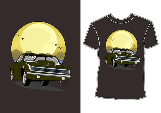Carro está de férias de verão na praia design de camiseta Vetor Premium