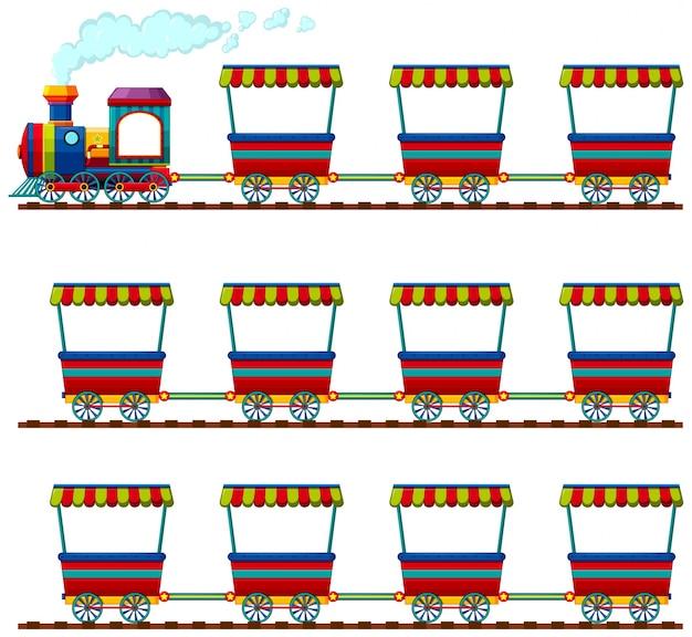 Carro, grupo, cor, ferrovia, arte Vetor grátis