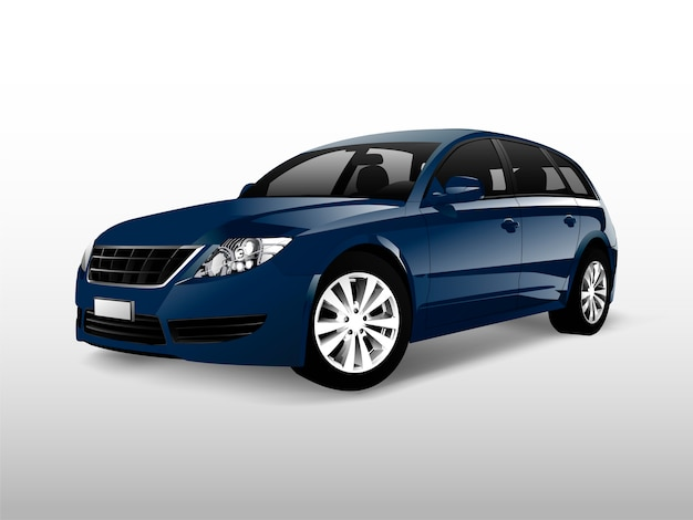 Carro hatchback azul isolado no branco vector Vetor grátis