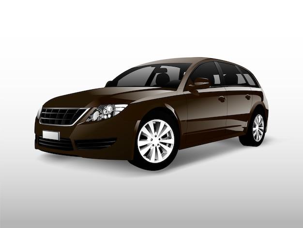 Carro hatchback marrom isolado no branco vector Vetor grátis