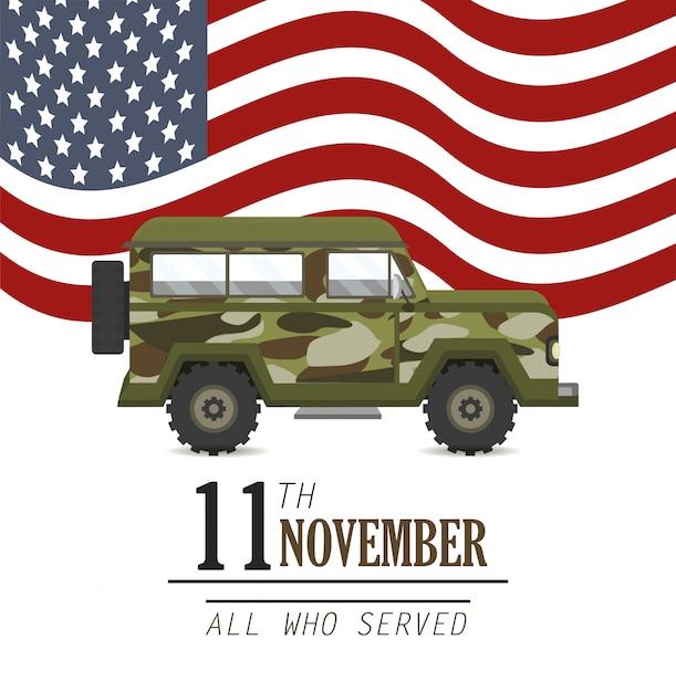 Carro militar e bandeira dos estados unidos Vetor Premium