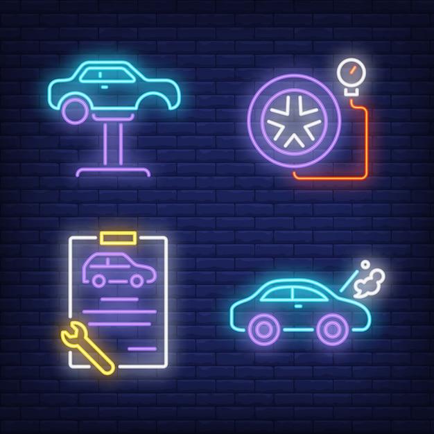 Carro no elevador automático, prancheta e pneu conjunto de sinais de néon Vetor grátis
