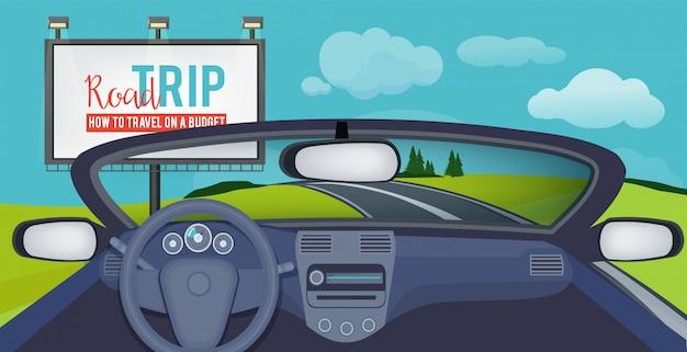 Carro para dentro. vista sobre a paisagem urbana do motorista interior do salão de automóvel em fotos de estradas Vetor Premium