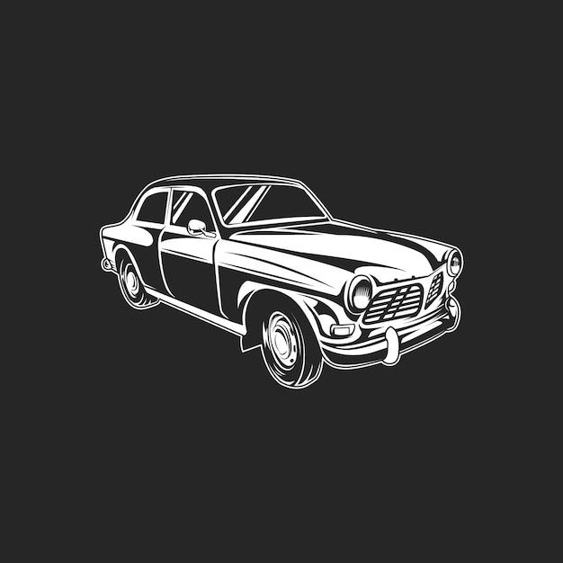 Carro retrô b & w clássico no escuro Vetor Premium