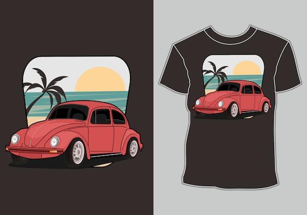 Carro retrô e clássico para impressão de t-shirt Vetor Premium