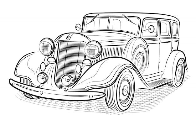 Carro retrô isolado no branco. Vetor Premium