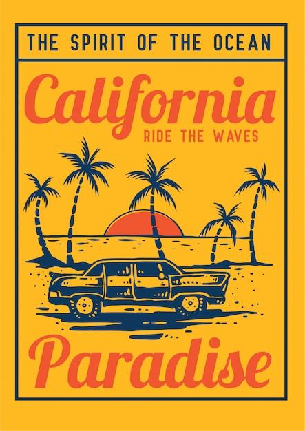 Carro retrô no paraíso de praia verão com palmeira tropical e pôr do sol em ilustração vetorial retrô dos anos 80 Vetor Premium