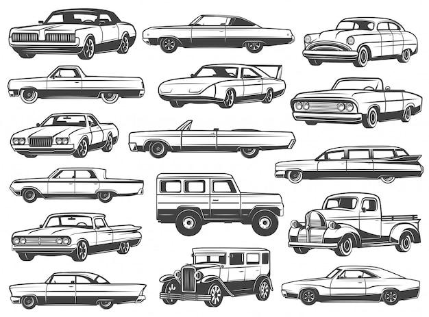 Carro retrô, sedan vintage, cabriolet, pick-up, vagão Vetor Premium
