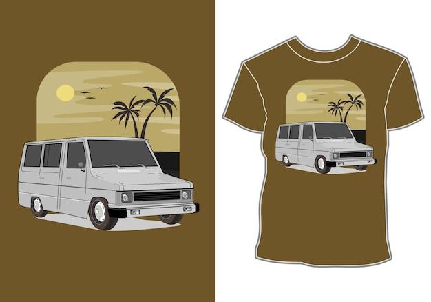 Carro retrô, vintage, clássico com mar, ilustração para impressão de camiseta Vetor Premium
