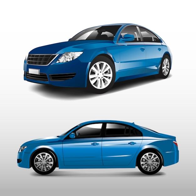 Carro sedan azul isolado no branco vector Vetor grátis