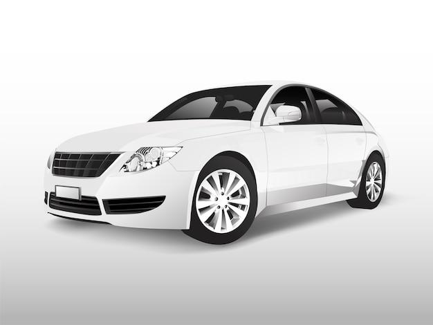 Carro sedan branco isolado no branco vector Vetor grátis