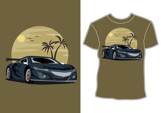 Carro verão pôr do sol praia mar natureza linha gráfico ilustração arte design de t-shirt Vetor Premium