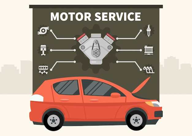 Carro vermelho com infográficos do vetor de serviço de motor Vetor Premium