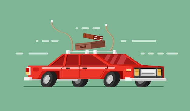 Carro vermelho em movimento com bagagem e bagagem. viajando de carro Vetor Premium