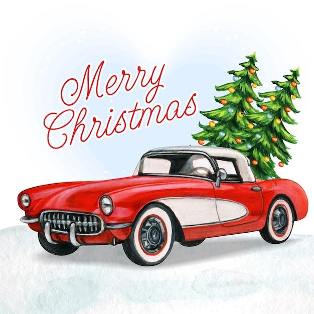 Carro vintage vermelho elegante com árvores de natal e neve Vetor Premium