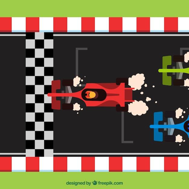 Carros de corrida f1 planos cruzando a linha de chegada Vetor grátis