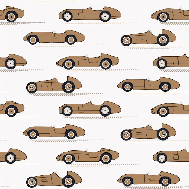 Carros de corrida sem costura vintage padrão Vetor Premium