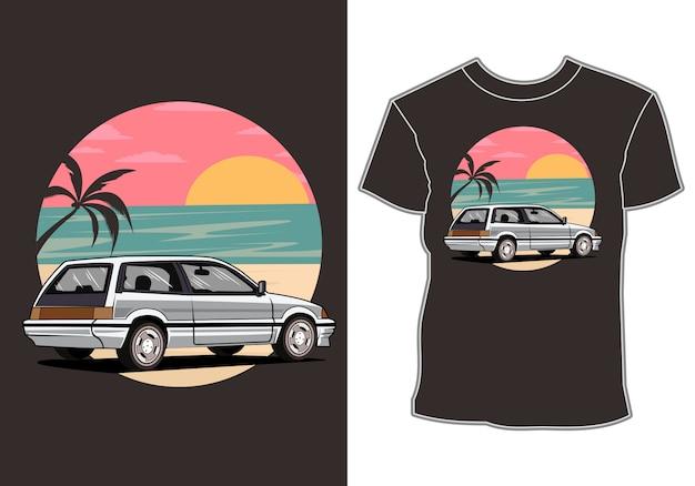 Carros de férias tropicais e design de camisa de férias de verão ao pôr do sol Vetor Premium