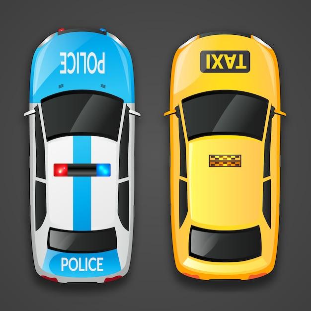 Carros de polícia e táxi Vetor grátis