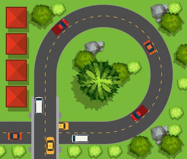 Carros dirigindo ao redor do círculo Vetor grátis