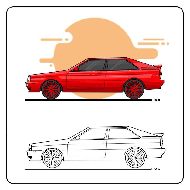 Carros dos anos 80 fáceis editáveis Vetor Premium
