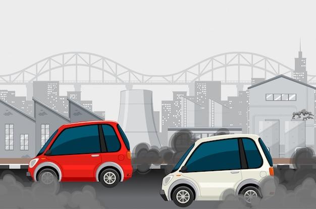 Carros e fábrica na cidade grande, fazendo fumaça suja Vetor grátis